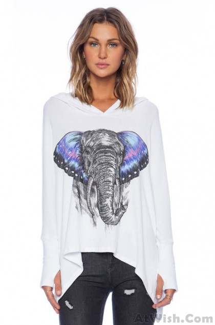 Concise Style On Sketch Color Printing Elephant Pattern Shirt