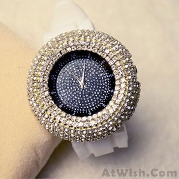 Fashion Big Dial Rhinestone Quartz Watch