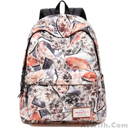 Leisure Leaves Print Graffiti Large Student Bag Travel College Backpack
