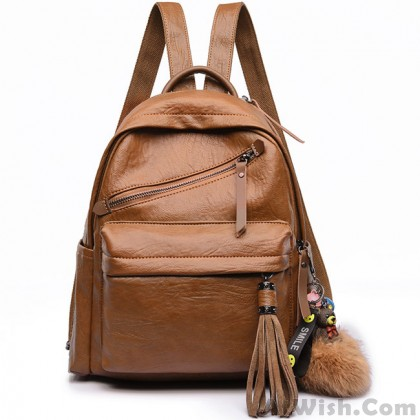 Retro PU School England Style Tassels Casual Outdoor Sports Travel Backpack