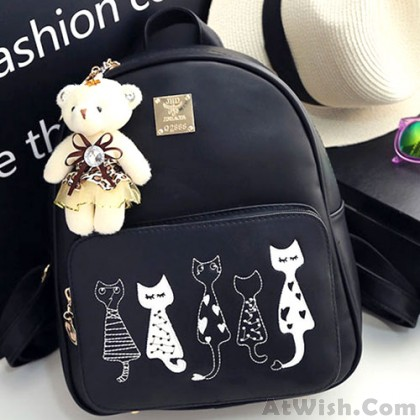 Lovely Kitten School Zippered Backpack Cute Cartoon Cats Printing PU Backpacks