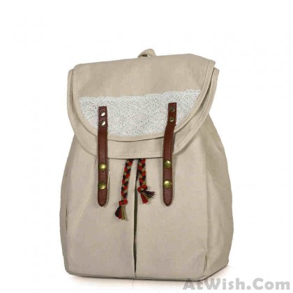 Fresh Solid Lace Drawstring Double Hasp School Bag Travel Backpack
