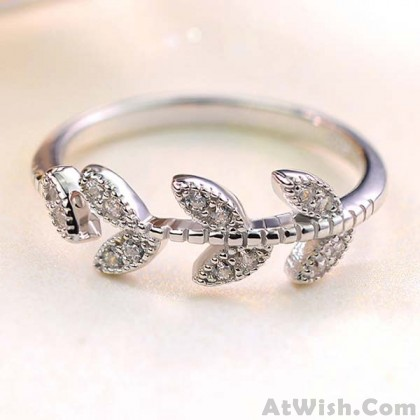 Cute Girl's Leaf Ring Vivid  Zircon Leaves Silver Open Ring