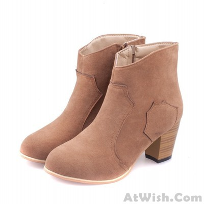 Casual Side Zipper Nubuck Leather Ankle Boots Martin Boots