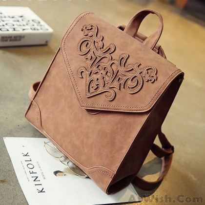 Retro British College Student Bag 3D Carved Square School Backpack