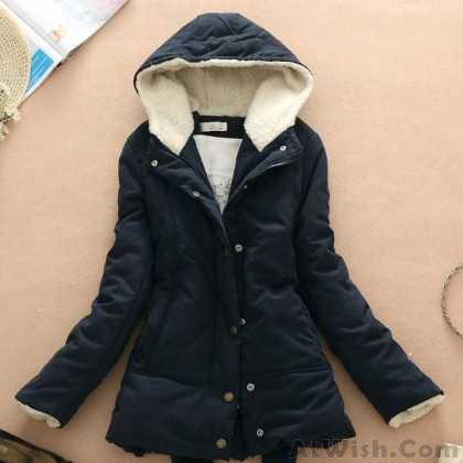 Candy Color Thicken Wool Hooded Coat