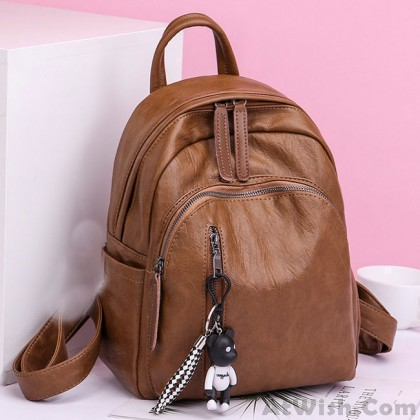 Retro Soft PU Multi Zippers School Leisure College Lady Waterproof Lightweight Backpack