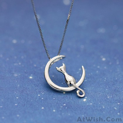 Cute Kitty Cat Silver Necklace Fairy Tale Style Animal Kitten Stand Moon Necklace