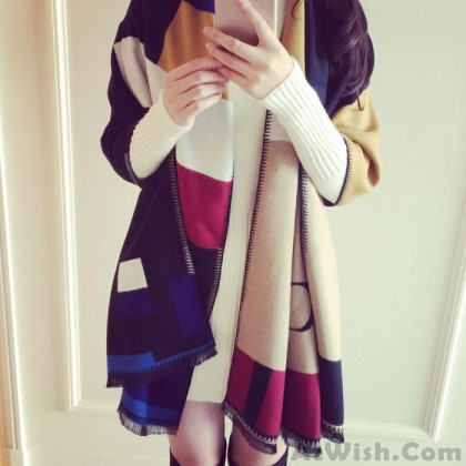 Women Cashmere Wool Warm Shawl Scarf Dual Spell Color Geometric Shapes Scarf