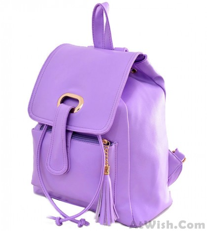 Fresh Candy Color Buckle Tassel Student Bag Backpack