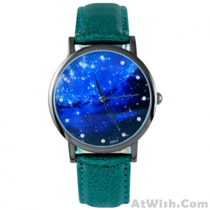 Fashion Galaxy Pattern Diamond Metal PU Watch