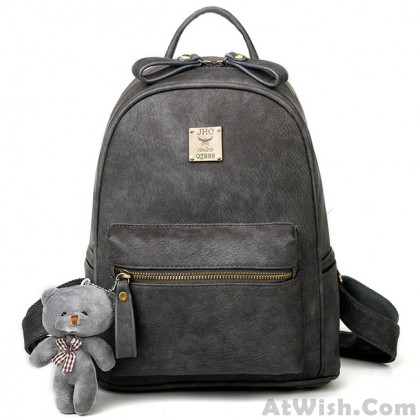 Retro Simple Girl's Frosted PU Lichee Pattern Leisure Bag Bear Doll Pendant College Backpack