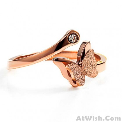 Cute Double Layer Frosted Vivid Butterfly Animal Rose Gold Women Open Ring