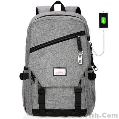 Leisure Zipper School Bag Travel USB Interface Gray Large Waterproof Canvas  Student Backpack 3bfe15d01495c