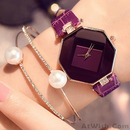 Simple Geometric Shapes Incised Crystals Embedded Strap Women Quartz Watch