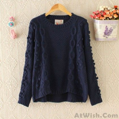 College Pullover Hand Made Ball Irregular Cut Sweater
