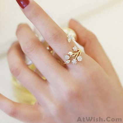 Cute Snowflake Tree Leaves Branches Flower Women Open Rings