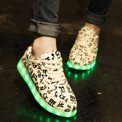 Fashion Music Print LED Glowing Shoes USB Lights Charge Couple Casual Sneakers