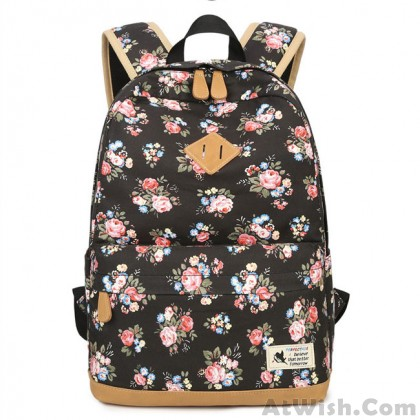 Fresh Floral Large Flower Student Bag School Canvas Backpack