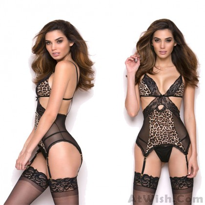 Sexy Perspective Cross Hollow Leopard Lace Conjoined Intimate Lingerie