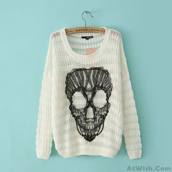 Fashion Casual Lace Skull Loose O-neck Batwing Sleeve Mixed Color Sweater 1188a37f1