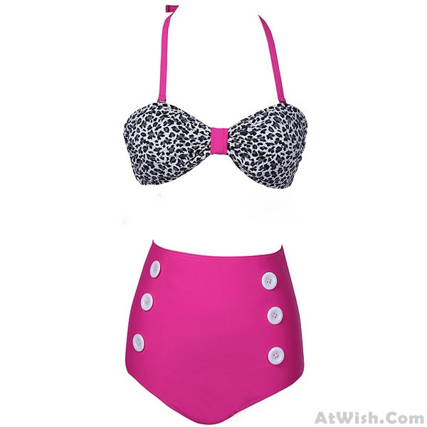 4a4010bf0ce Dot Pattern High Waist Button Bikini Swimsuit | Bikinis & Swimsuits ...