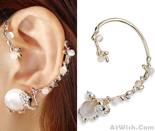 Punk Luxury Elephant Long Branch Clip Earring