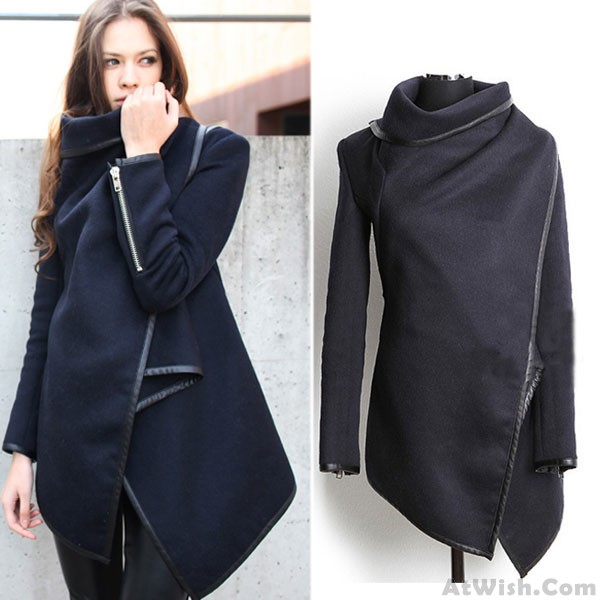 Unique Slim Irregular Woolen Coat Windbreaker Jacket | Coats ...