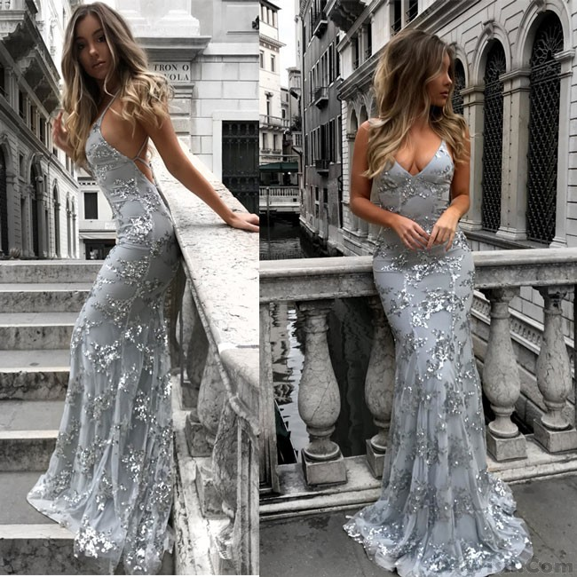 3b535689f1b Sexy Deep V Neck Straps Sequin Party Dress Long Prom Dress