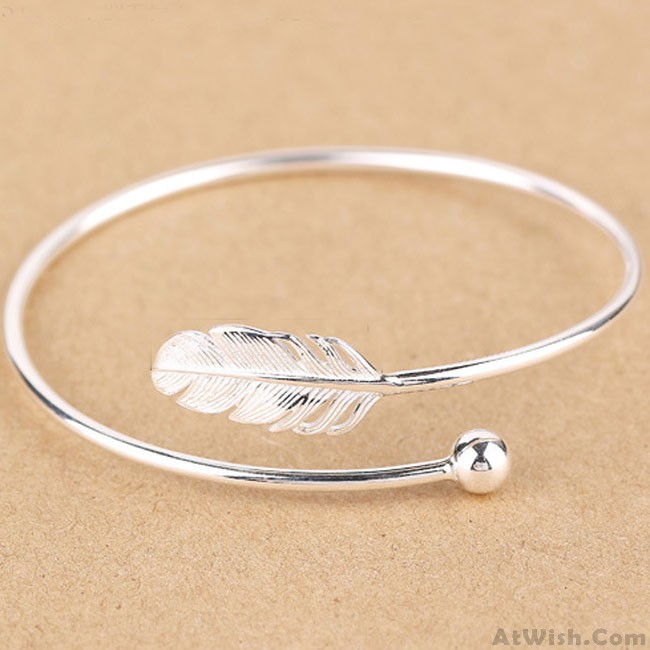 Fresh Women Silver Bangle Feather Simple Open Bracelet Only 26 99 Atwish