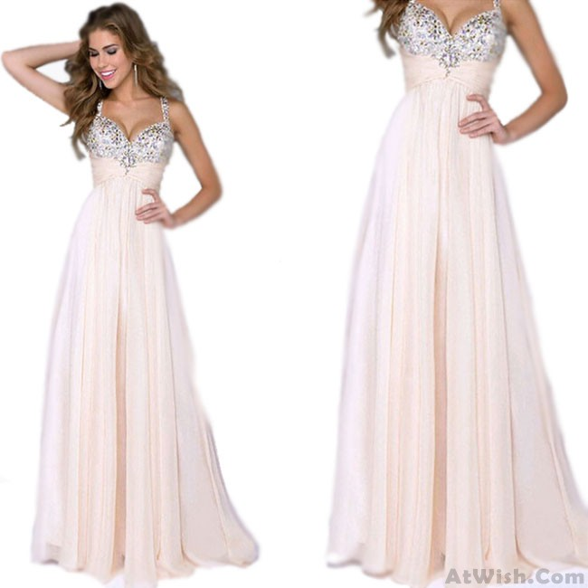Elegant Girl\'s Sequins Sparkly Maxi Prom Dress Ruffles Chiffon ...