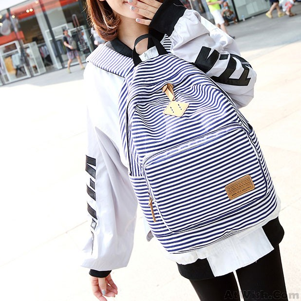 Summer Blue Striped Leisure Canvas College Backpack  86d013e148f02