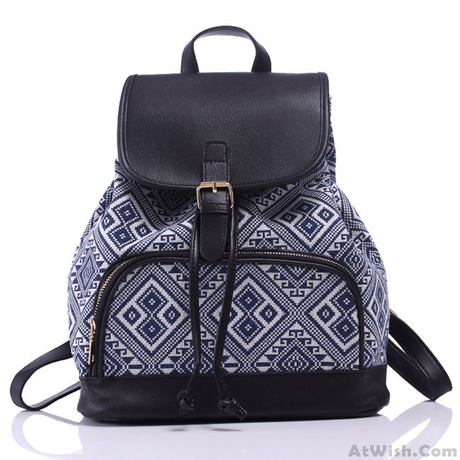77209a14f30c Leisure Original Irregular Printing Rucksack Totem Geometry Small Canvas  Backpack