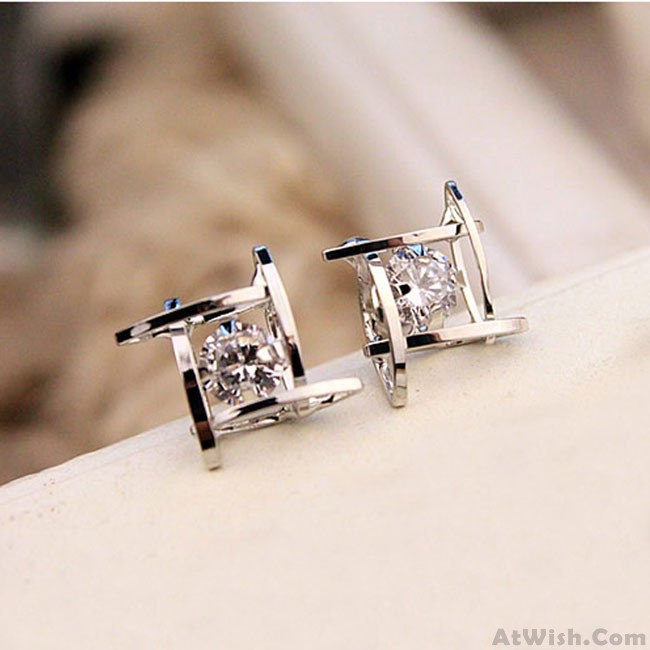 Fresh Unique Tic Tac Toe Triangle Zircon Women Earrings