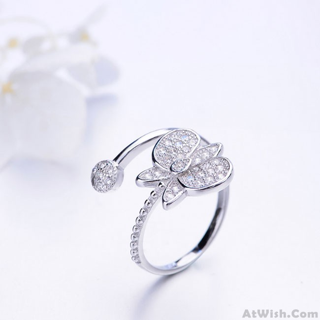 Unique Design Silver Butterfly Diamond Adjustable Open Ring Only 1799 Atwishcom