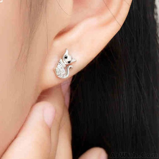 Cute Cat Diamond Bordered Kitty Silver Women Fashion Animal Earring Studs