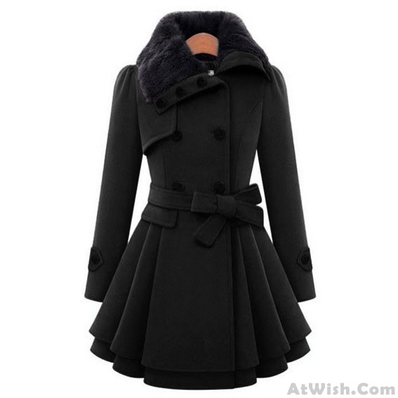 Women 's Woolen Coat Thicker Coat Double - Breasted Windbreaker