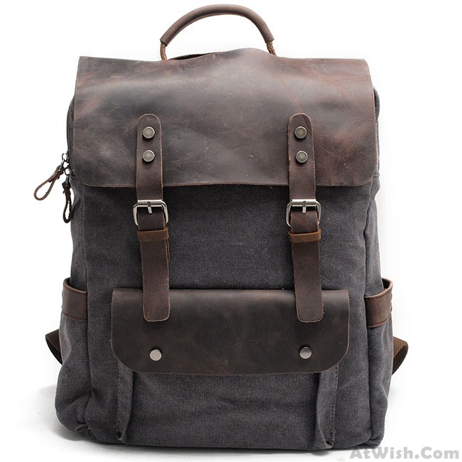 Vintage Large Laptop Thick Canvas Travel Rucksack Bag Splicing Leather  Outdoor Backpacks 4e184f9d28f89