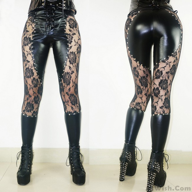d28c0fda5e333 Black Faux Leather Lace Rivets Punk Girl's Sexy See Through Gothic Leggings