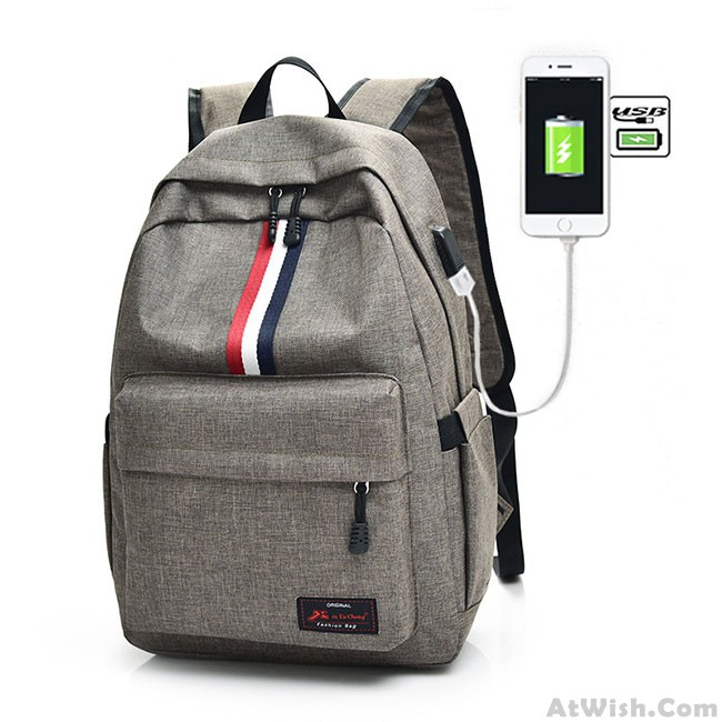 6050d0d31267 Casual Student Bag Canvas Backpack Red White Black Stripe USB Interface  Large Travel Backpack only $32.99 -AtWish.com