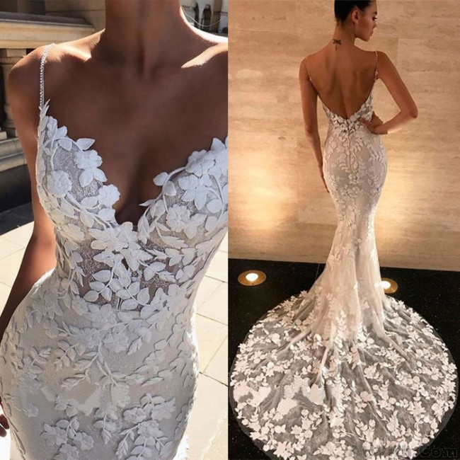 Sexy White Lace Hollow Party Dress V Neck Leaves Lace Backless