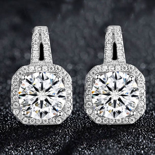 Elegant Silver Luxury Diamond Bordered Octagon Women S Earring Studs Only 12 99 Atwish