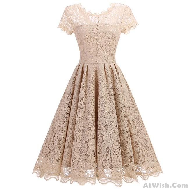 ed32b1136e Sweet Women's Retro Splicing Lace Hollow-out See Through Party Umbrella  Skirt Dress
