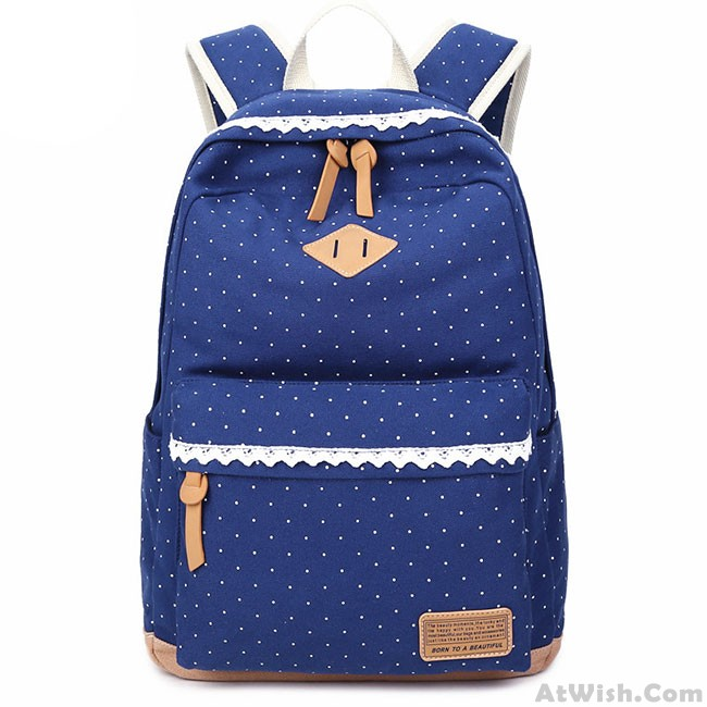 0d9ca1d1d7 Cute Lace Large Capacity Dot Travel Wave Point Girl s College Canvas ...
