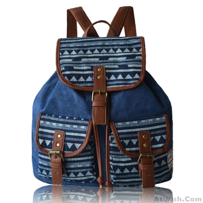 07624565d522 Fashion Geometry Irregular Canvas Retro Original Two Pockets School Leisure  Backpack