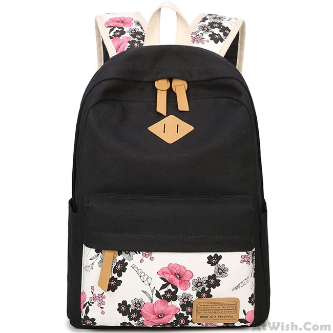 Unique Ink Wash Painting Pink Flower School Bag S Black Canvas Large Fl Rose Student Backpack Only 38 99 Atwish