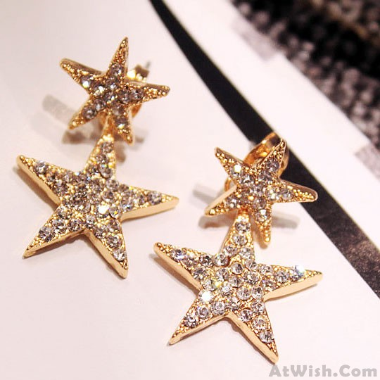 Fashion Diamond Bordered Double Stars Women S Cute Ear Drop Earring Studs