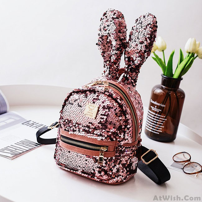 3e78b4f28c51 Shining Sequins Colorful Rabbit Ear Mini Animal Bag Girl s Backpack ...