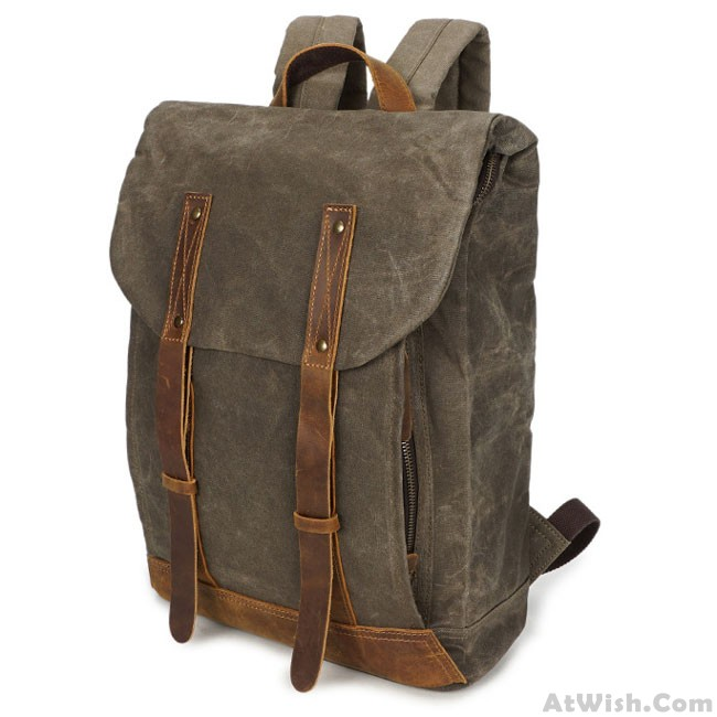 e968cb832e Retro Waterproof Canvas Splicing Leather Belt Flap Vintage School Travel  Man Backpack · Zoom. prev