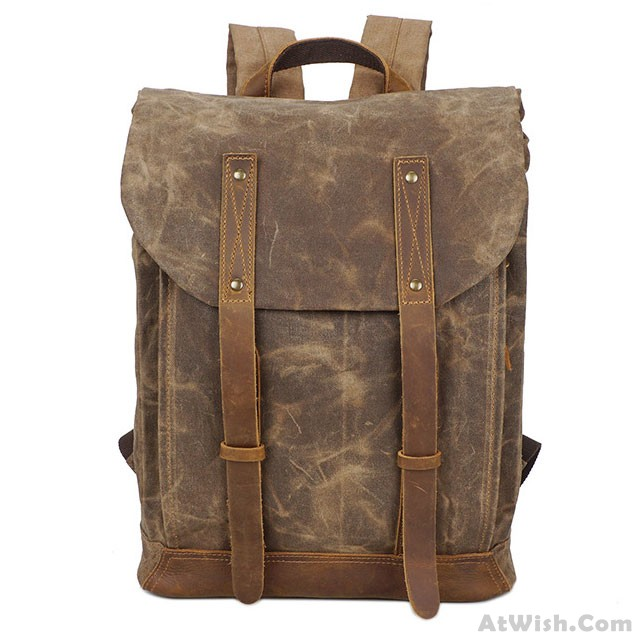 737c6e9d43 Retro Waterproof Canvas Splicing Leather Belt Flap Vintage School Travel  Man Backpack